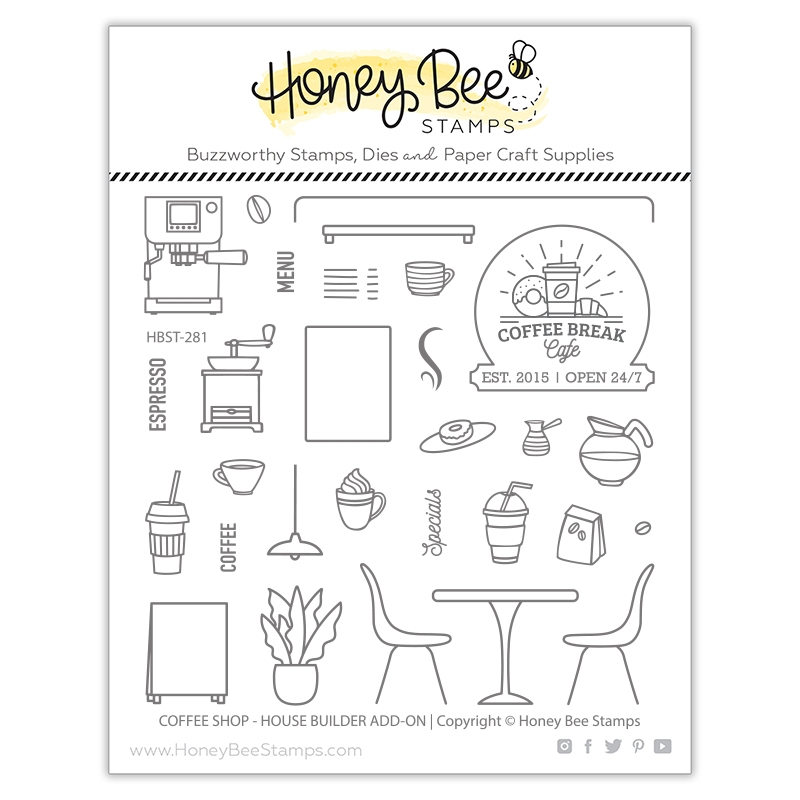 Honey Bee COFFEE SHOP HOUSE BUILDER ADD ON Clear Stamp Set hbst281 zoom image