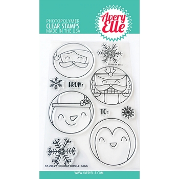 Avery Elle Clear Stamps HOLIDAY CIRCLE TAGS ST-20-27