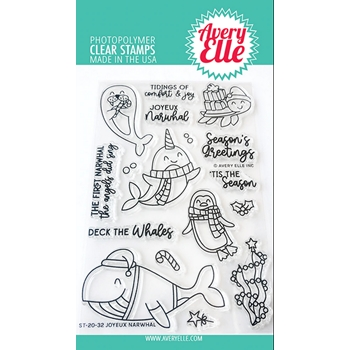 Avery Elle Clear Stamps JOYEUX NARWHAL ST-20-32