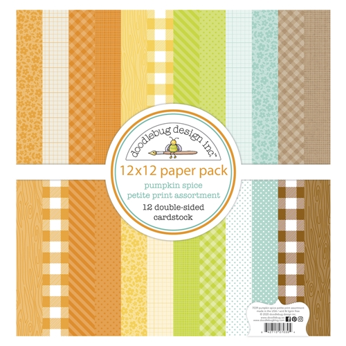 Doodlebug PUMPKIN SPICE 12x12 Inch Petite Print Assortment Paper Pack 7039 Preview Image