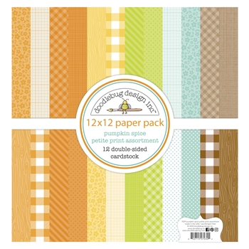 Doodlebug PUMPKIN SPICE 12x12 Inch Petite Print Assortment Paper Pack 7039