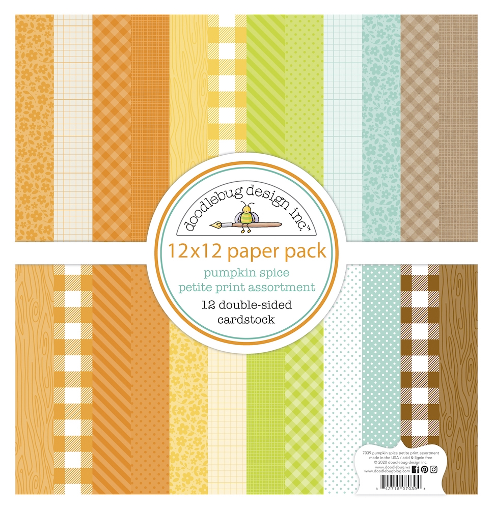 Doodlebug PUMPKIN SPICE 12x12 Inch Petite Print Assortment Paper Pack 7039 zoom image