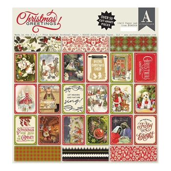 Authentique CHRISTMAS GREETINGS 12 x 12 Paper Pad cmg008