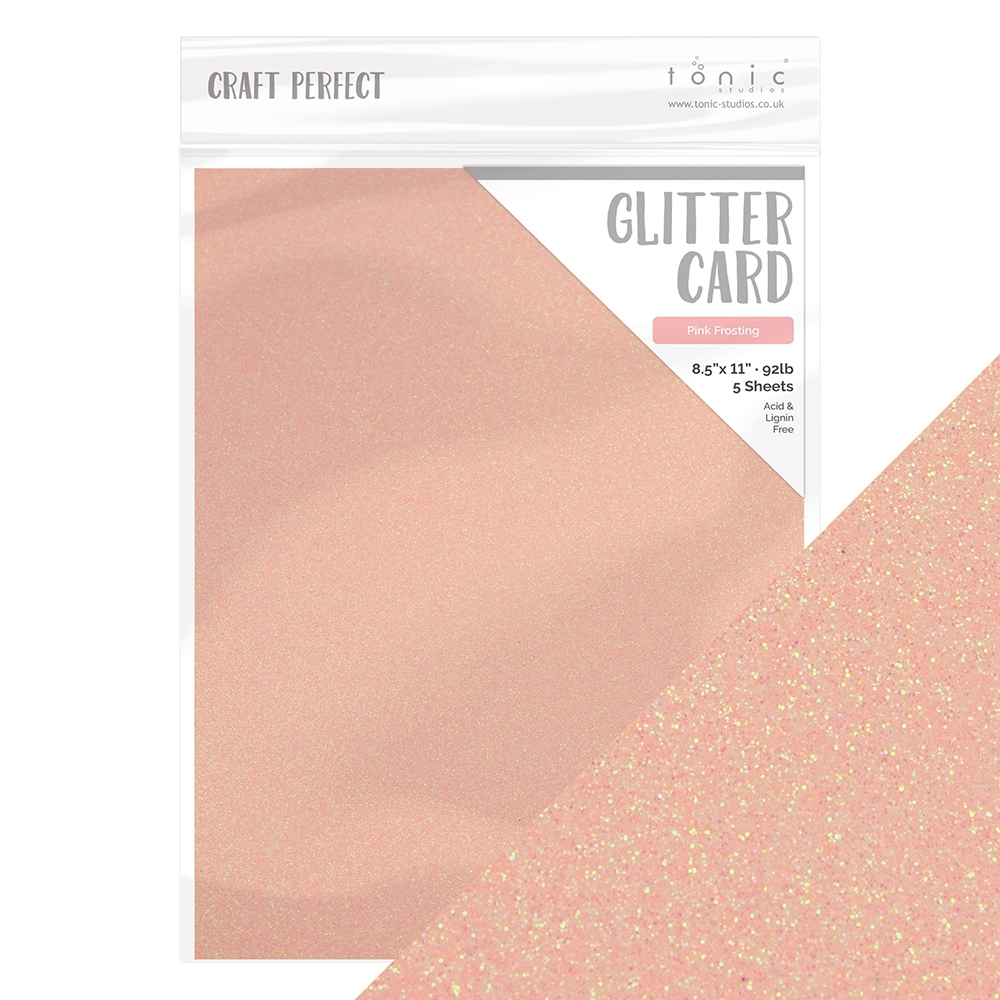 Tonic PINK FROSTING Glitter Cardstock 9975e zoom image