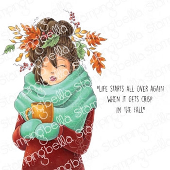 Stamping Bella Cling Stamps MOCHI FALL GIRL eb983