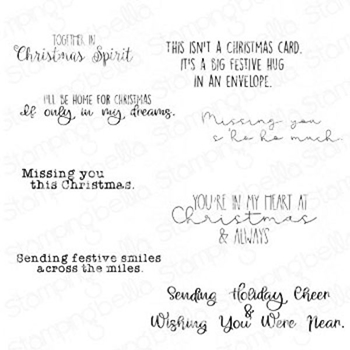 Stamping Bella Cling Stamps LONG DISTANCE CHRISTMAS SENTIMENT SET eb976