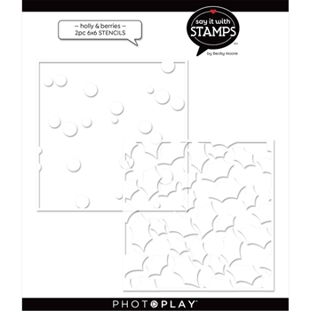 PhotoPlay HOLLY BERRIES Stencil Set Of 2 sis2368*