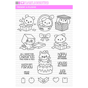 Clearly Besotted PRESENT A PLUSHIE Clear Stamps
