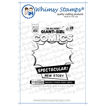 Whimsy Stamps COMIC BOOK COVER Cling Stamp DDB0049