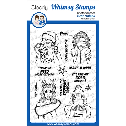 Whimsy Stamps GOSSIP GIRL HOLIDAY Clear Stamps CWSD345 Preview Image