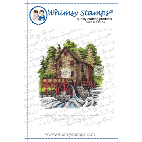 Whimsy Stamps RUSTIC WATER MILL Cling Stamp DA1149 Preview Image