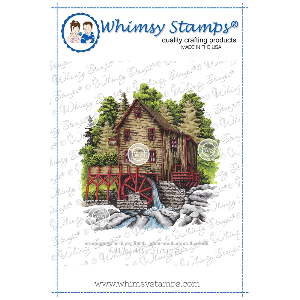 Whimsy Stamps RUSTIC WATER MILL Cling Stamp DA1149 zoom image
