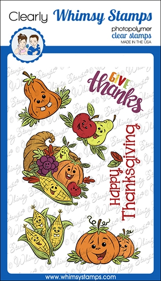 Whimsy Stamps THANKSGIVING CORNUCOPIA Clear Stamps KHB106a zoom image