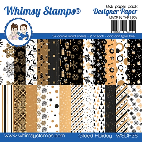 Whimsy Stamps GILDED HOLIDAY 6 x 6 Paper Pads WSDP26 zoom image
