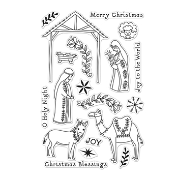 Hero Arts Clear Stamps FLORAL NATIVITY CM485