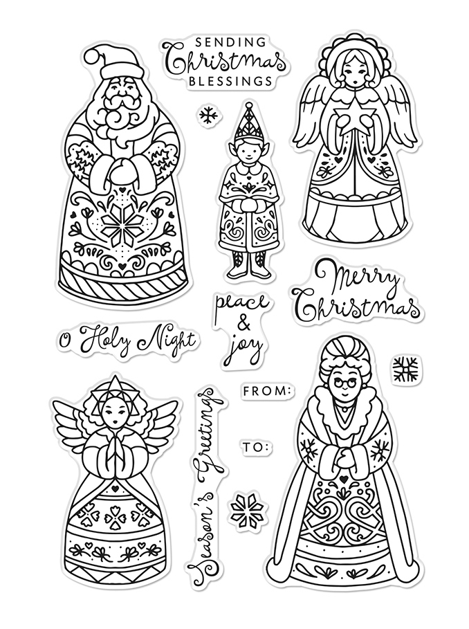 Hero Arts Clear Stamps CHRISTMAS FOLKS CM483 zoom image