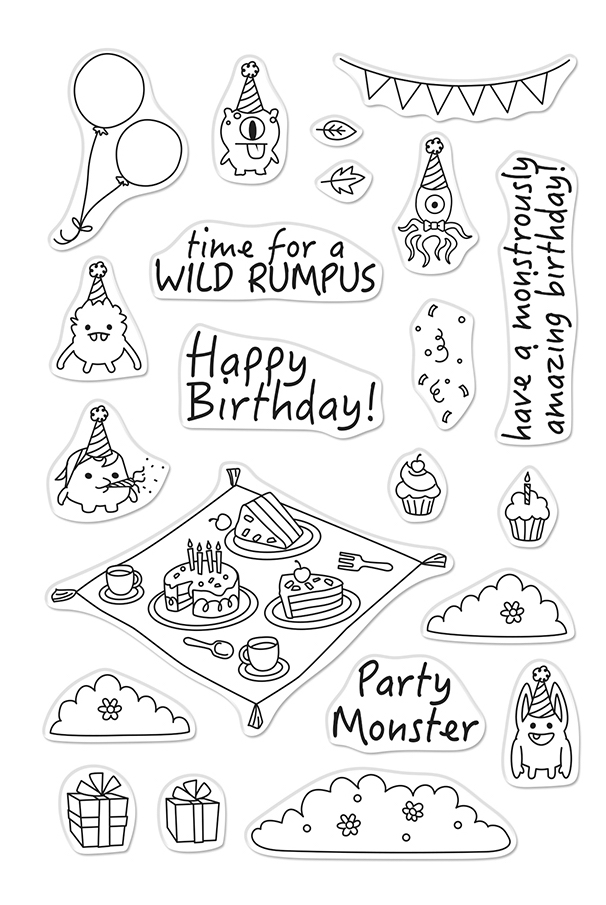 Hero Arts Clear Stamps PARTY MONSTERS CM486 zoom image