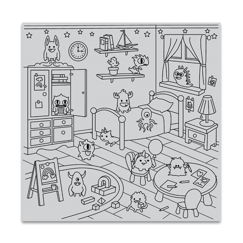 Hero Arts Cling Stamp MONSTER BEDROOM BOLD PRINTS CG824 Preview Image
