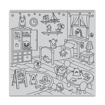 Hero Arts Cling Stamp MONSTER BEDROOM BOLD PRINTS CG824