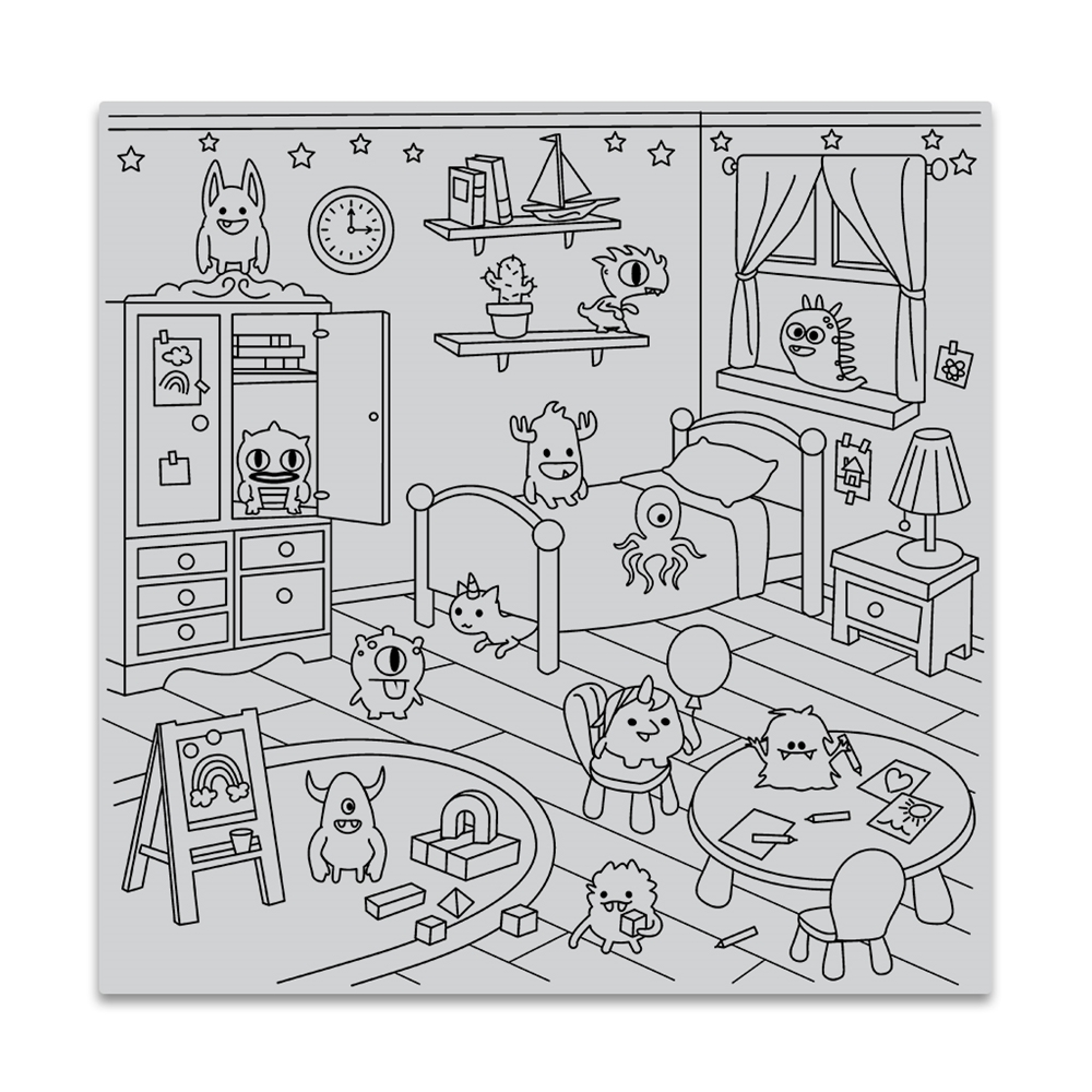 Hero Arts Cling Stamp MONSTER BEDROOM BOLD PRINTS CG824 zoom image