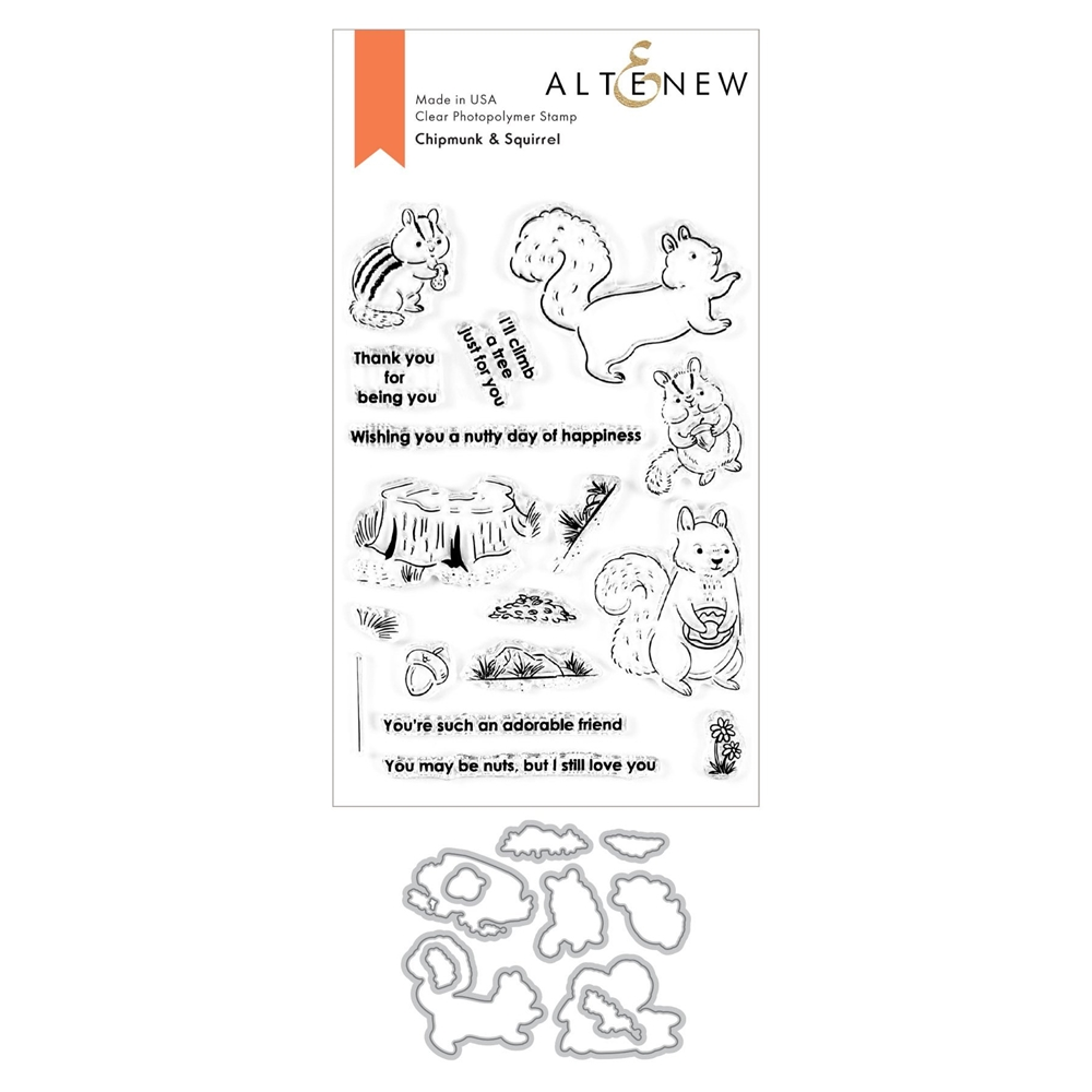 Altenew CHIPMUNK AND SQUIRREL Clear Stamp and Die Bundle ALT4522 zoom image
