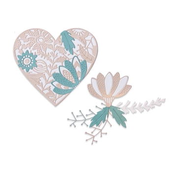Sizzix BOLD FLORAL HEART Thinlits Dies 664492