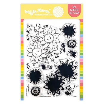 Waffle Flower LAYERED SUNFLOWERS Clear Stamps 420411