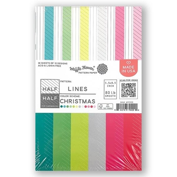 Waffle Flower HALF HALF LINES CHRISTMAS Paper Pad WFP220