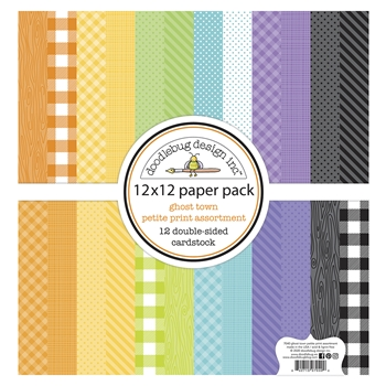 Doodlebug GHOST TOWN 12x12 Inch Petite Print Assortment Paper Pack 7040