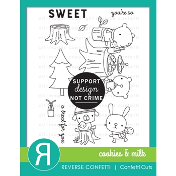 Reverse Confetti COOKIES AND MILK Clear Stamps