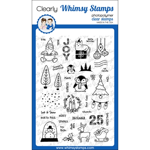 Whimsy Stamps HOLIDAY POSTAGE Clear Stamps CWSD346  Preview Image