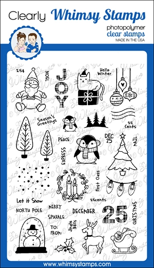 Whimsy Stamps HOLIDAY POSTAGE Clear Stamps CWSD346  zoom image