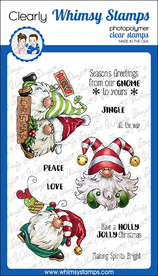Whimsy Stamps GNOME FOR CHRISTMAS Clear Stamps C1365 zoom image