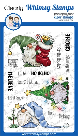 Whimsy Stamps GNOME FOR THE HOLIDAYS Clear Stamps C1366 zoom image