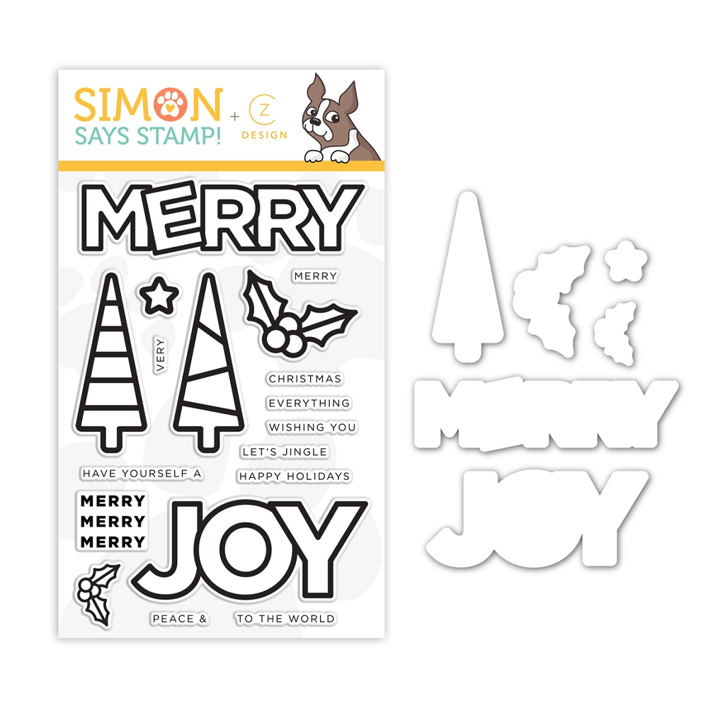 CZ Design Stamps and Dies CHUNKY CHRISTMAS set354cc Make Merry zoom image