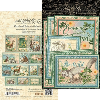 Graphic 45 WOODLAND FRIENDS Journaling And Ephemera Cards 4502139