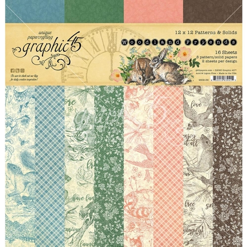 Graphic 45 WOODLAND FRIENDS 12 x 12 Patterns And Solids Paper Pad 4502136 Preview Image