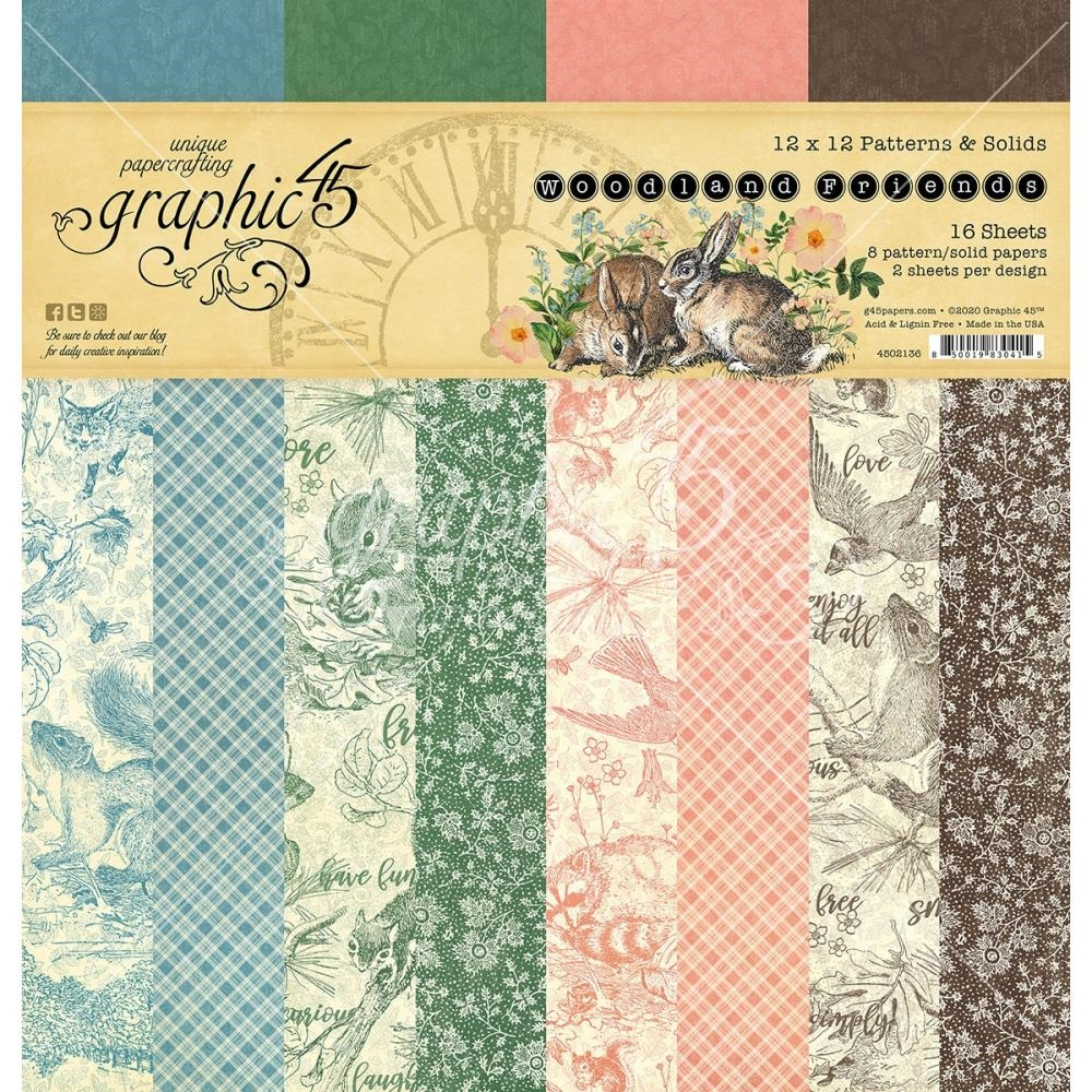 Graphic 45 WOODLAND FRIENDS 12 x 12 Patterns And Solids Paper Pad 4502136 zoom image