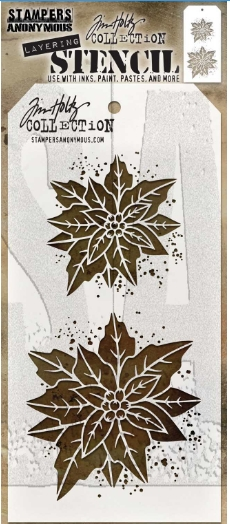 Tim Holtz Layering Stencil POINSETTIA DUO THS153 ** zoom image
