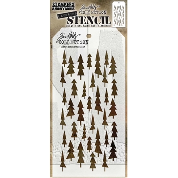 Tim Holtz Layering Stencil TREE LOT THS150