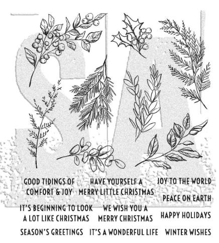 Tim Holtz Cling Rubber Stamps 2020 SKETCH GREENERY CMS429 ** Preview Image
