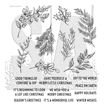 Tim Holtz Cling Rubber Stamps SKETCH GREENERY CMS429