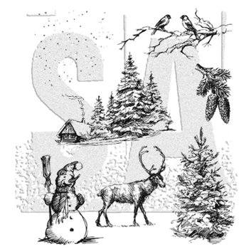 Tim Holtz Cling Rubber Stamps 2020 WINTERSCAPE CMS428