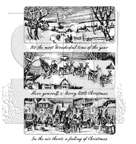 Tim Holtz Cling Rubber Stamps HOLIDAY SCENES CMS425 Preview Image