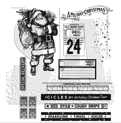 Tim Holtz Cling Rubber Stamps VINTAGE HOLIDAYS CMS423 Preview Image