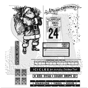 Tim Holtz Cling Rubber Stamps VINTAGE HOLIDAYS CMS423