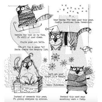 Tim Holtz Cling Rubber Stamps SNARKY CAT CHRISTMAS CMS416