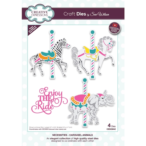 Creative Expressions CAROUSEL ANIMALS Sue Wilson Necessities Dies ced23042 Preview Image