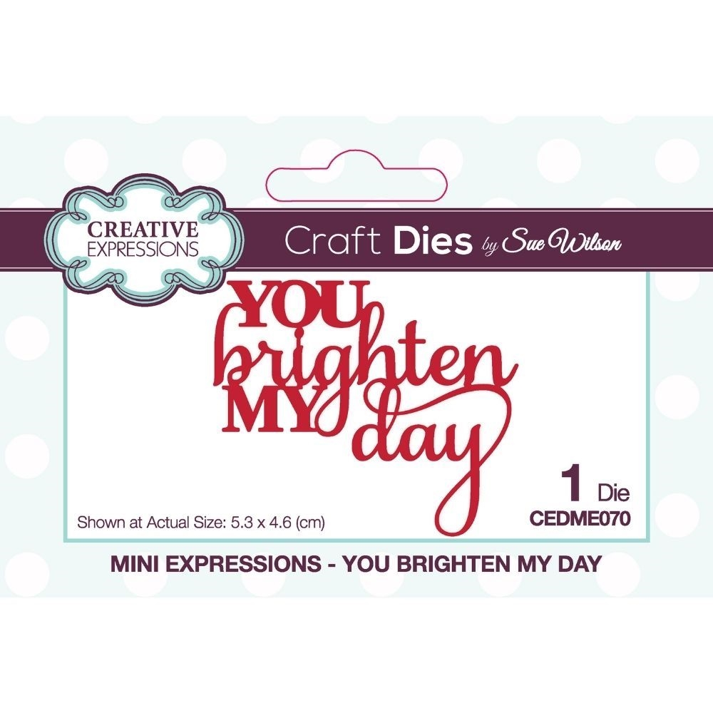 Creative Expressions YOU BRIGHTEN MY DAY Sue Wilson Mini Expressions Dies cedme070 zoom image