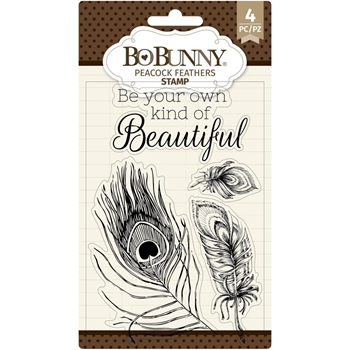 BoBunny PEACOCK FEATHERS Clear Stamps 7311137
